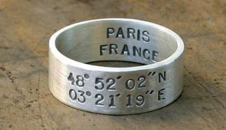 srebrna obrączka z grawerką paris