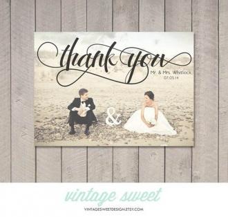 Kartka z podziękowaniem po ślubie dla gości