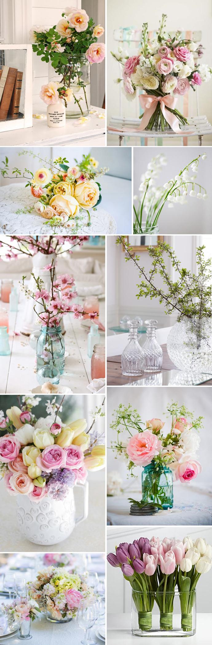 wiosenne bukiety pastelowe dekoracje ślubne