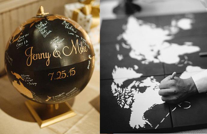 Nietypowe księgi życzeń weselnych - globus i mapa
