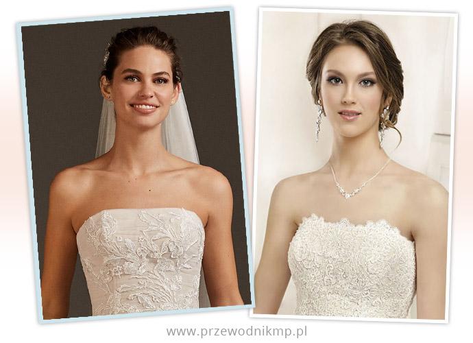 Dekolt prosty w sukniach ślubnych