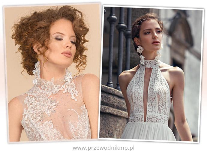 Suknie ślubne z dekoltem ze stójką