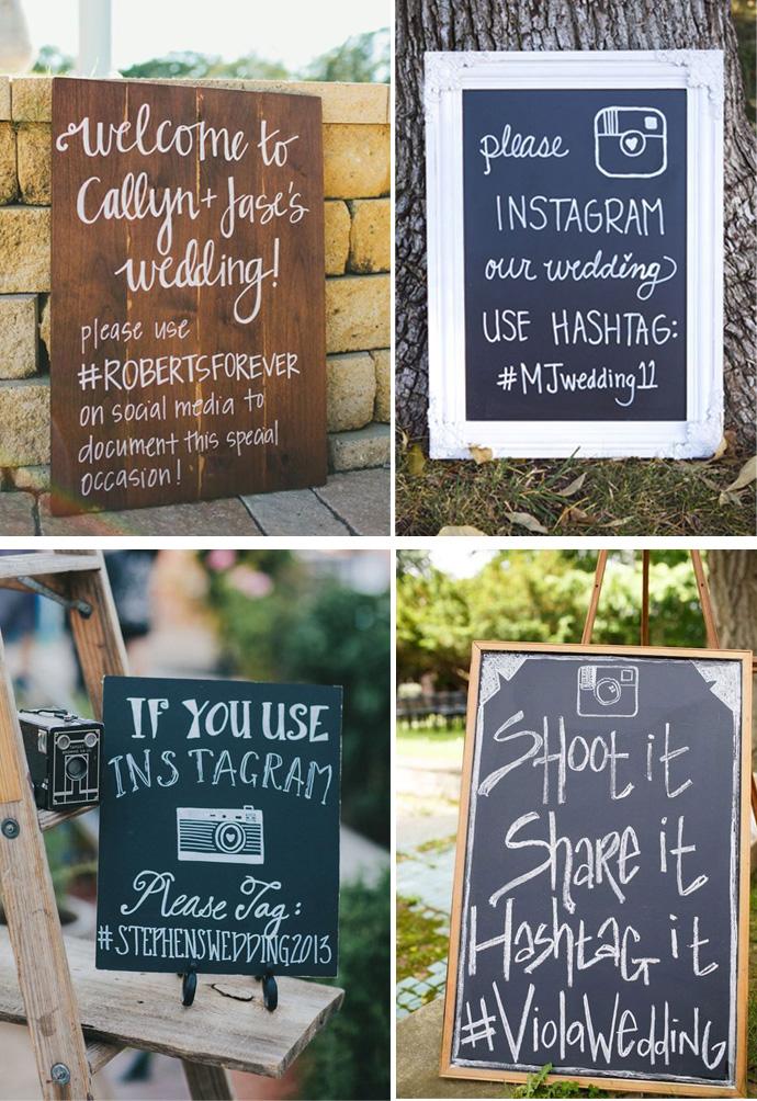 Tablice na wesele z hasztagiem ślubnym