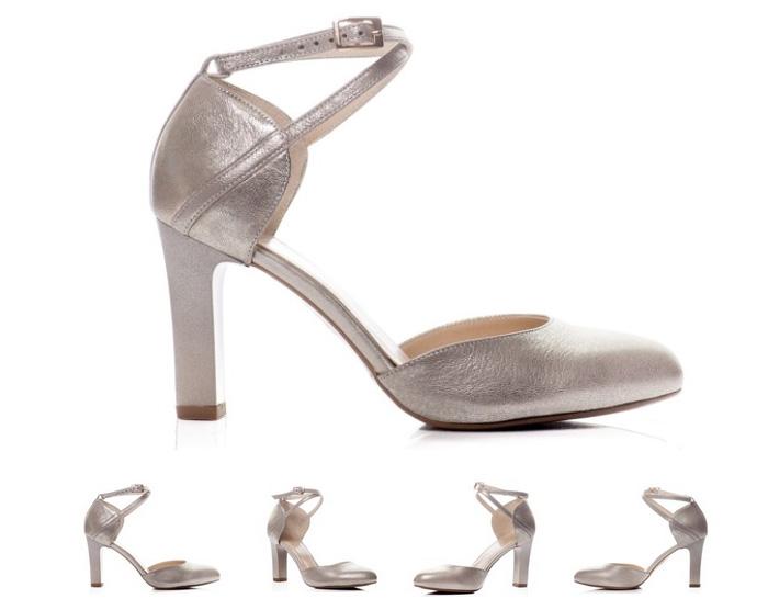 srebrne buty na koturnach do ślubu