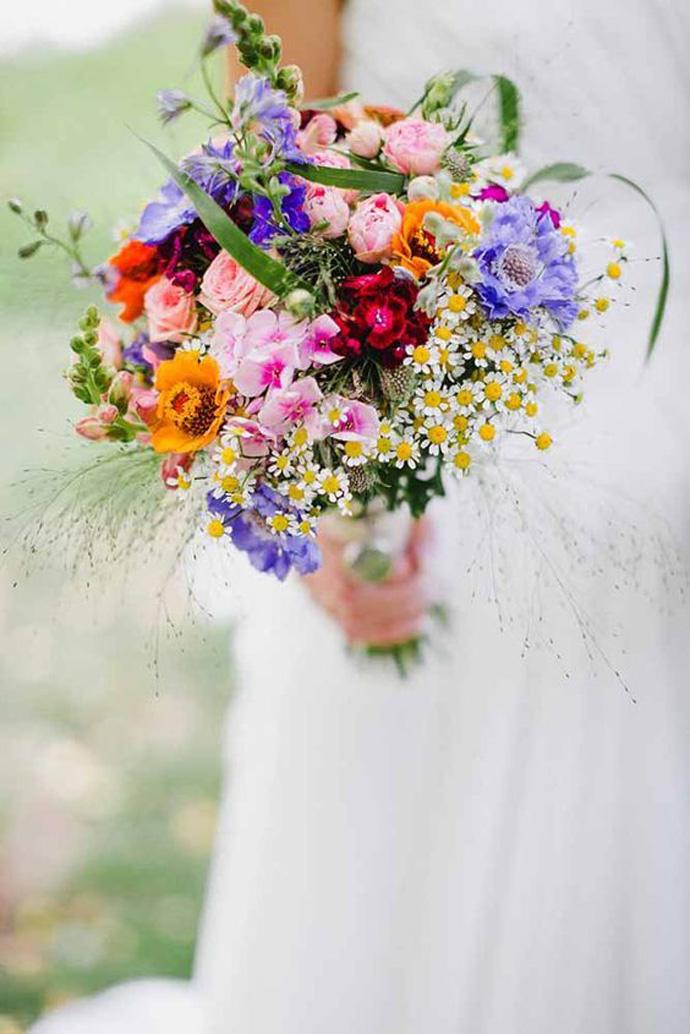 Kolorowy bukiet ślubny