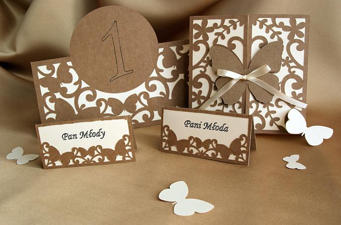 Komplet na ślub zaproszenie, numeracja stołów i winietki