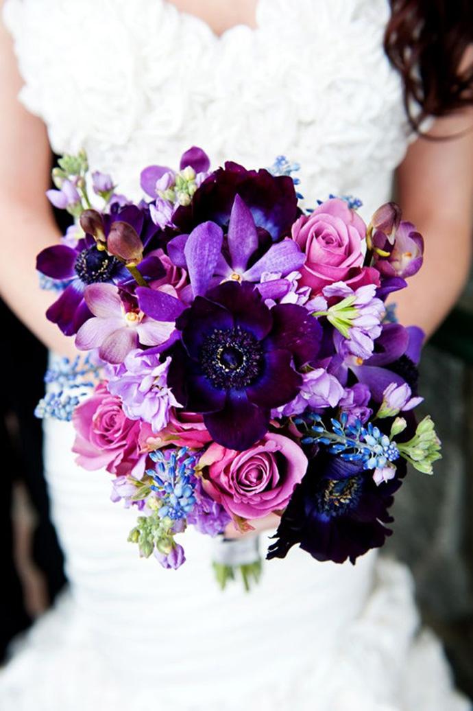 Fioletowe kwiaty do ślubu