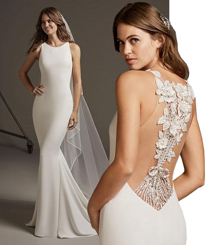 Minimalistyczna suknia ślubna z efektownymi koronkowymi plecami