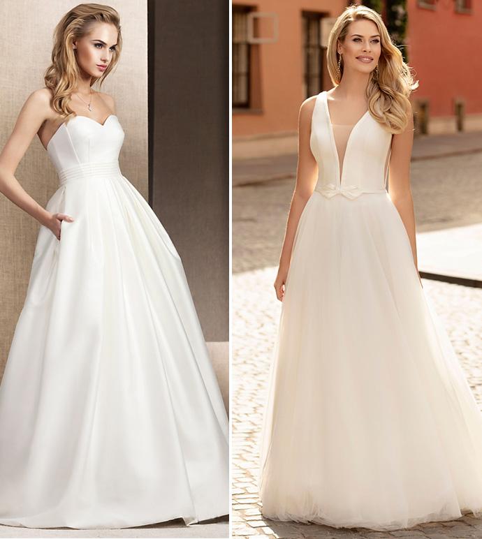 Gładkie minimalistyczne suknie ślubne