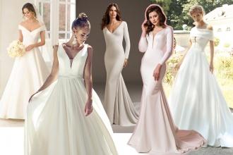 Minimalistyczne, gładkie suknie ślubne