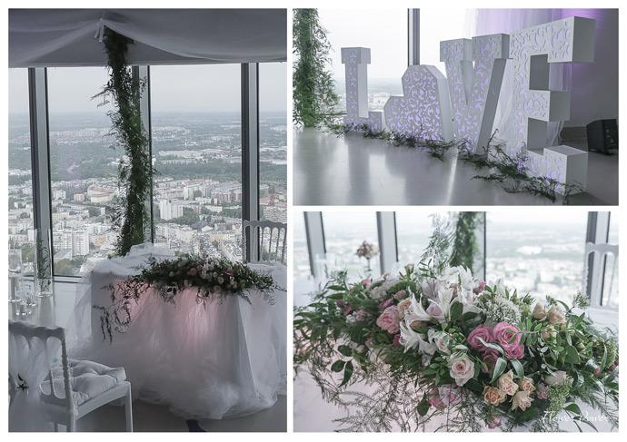 Dekoracje na ślub na tarasie widokowym Sky Tower we Wrocławiu