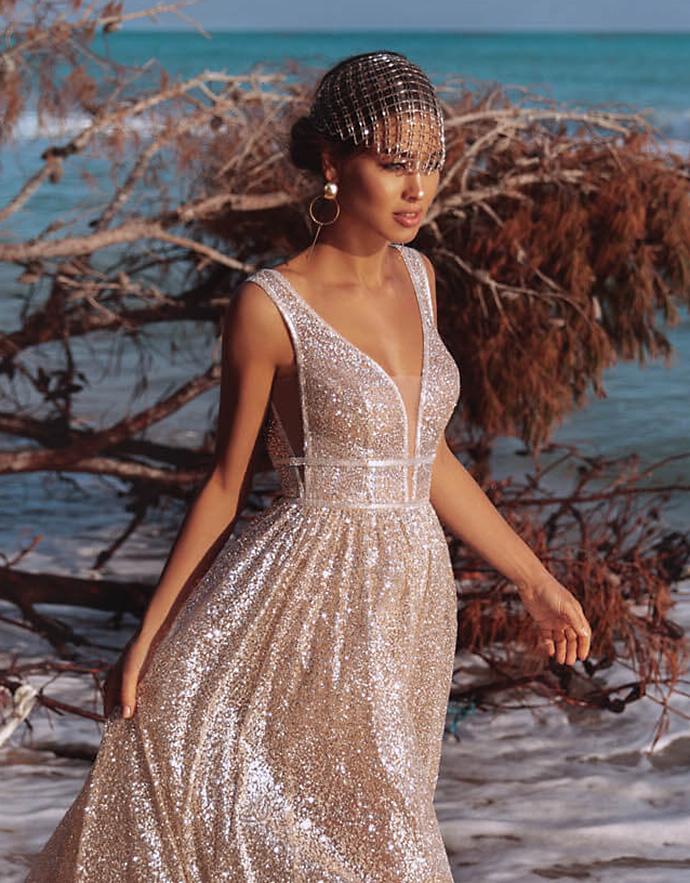 Woalka ślubna do błyszczącej sukni ślubnej