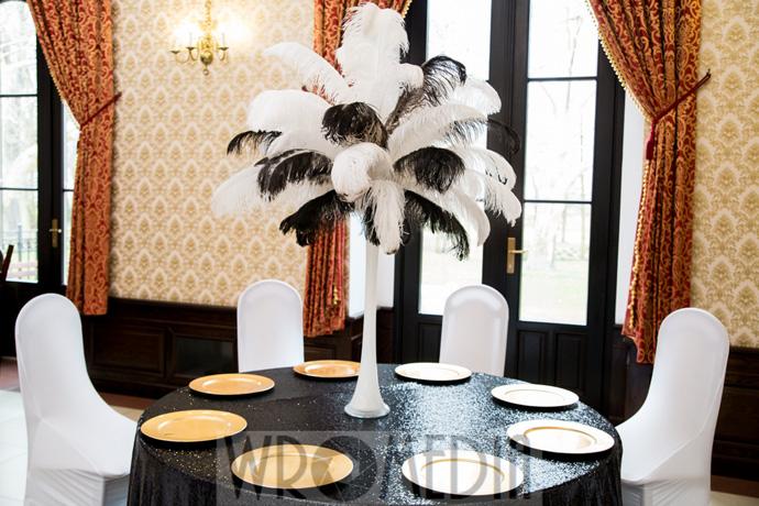 Dekoracja ślubna z czernią