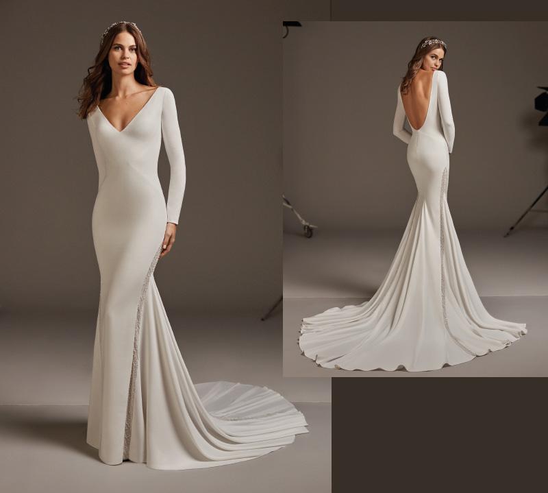Suknia ślubna typu rybka z długimi rękawami