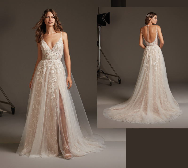 Lekka suknia ślubna z dekoltem V