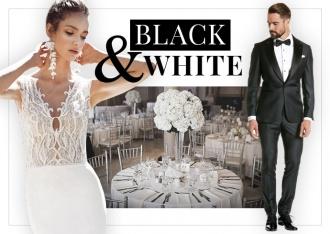 Elegancka para młoda w klasycznym ubiorze i czarno-białych kolorach stylizacji