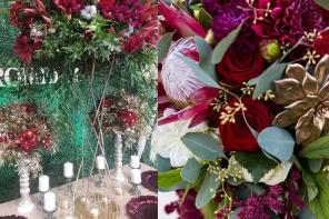 Burgund zachwyca w dekoracjach ślubnych