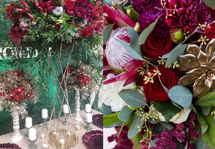 Dekoracje sali weselnej w odcieniach wina, burgundu, czerwieni ze złotem