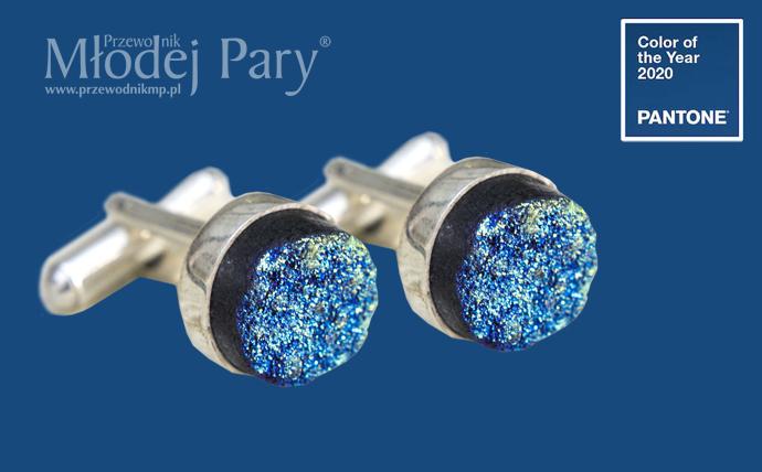 Kolor roku 2020 classic blue spinki do mankietów na ślub