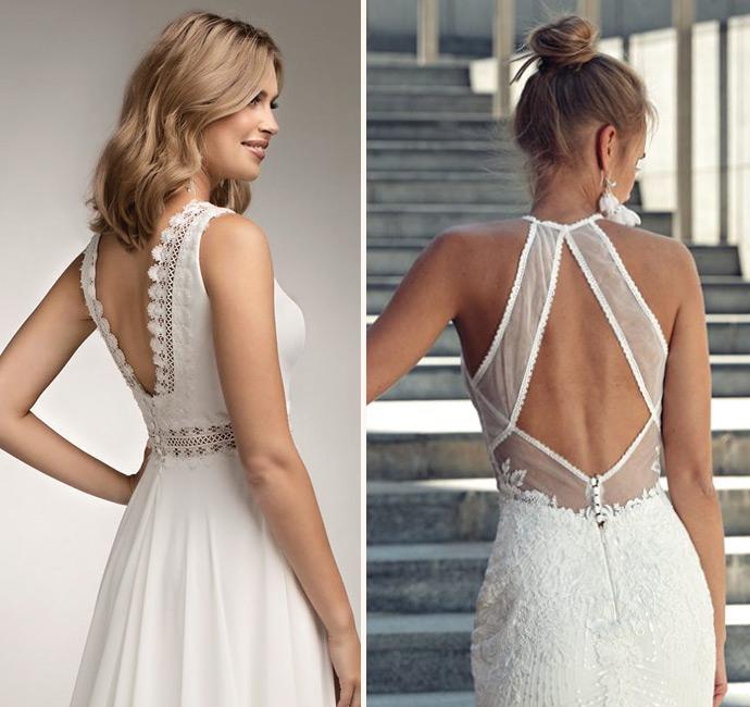 Pięknie wycięte plecy w sukni ślubnej