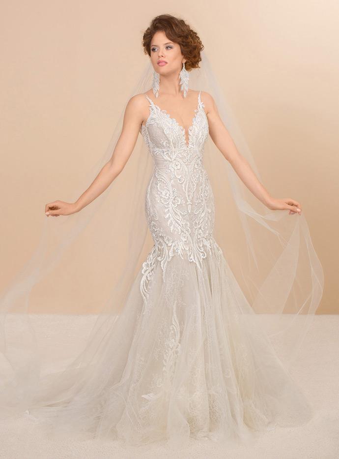 Koronkowa suknia ślubna rybka