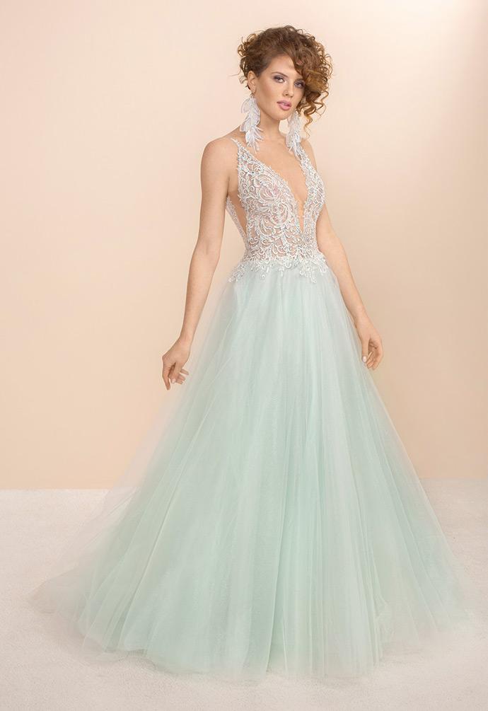 Miętowa suknia ślubna