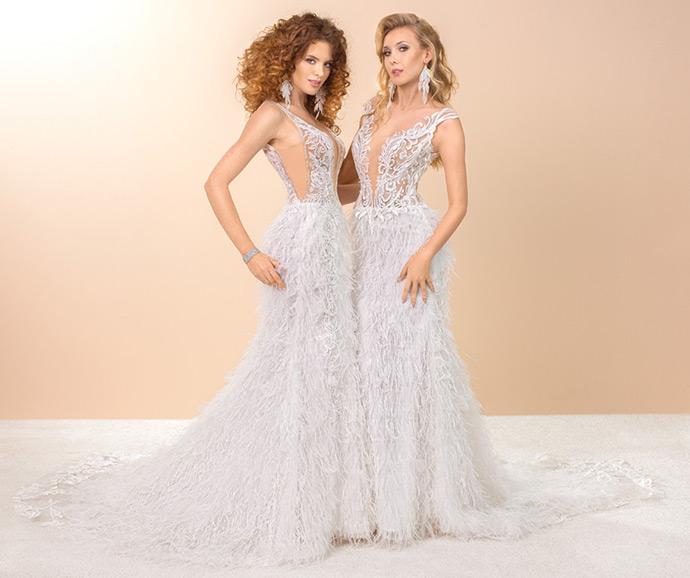 Suknie ślubne z koronkową górą i dołem z piórami