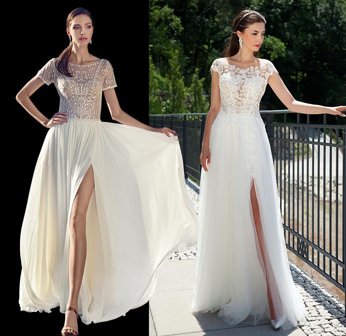 Suknie ślubne z rozcięciem odsłaniającym nogę