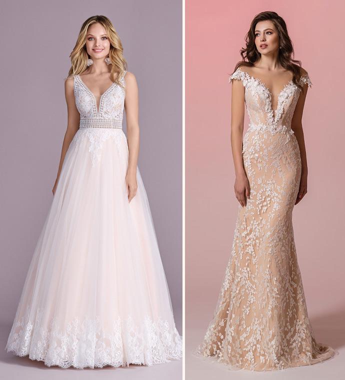 Suknie ślubne z odcieniach różu i brzoskwini