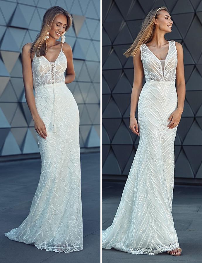 Wyjątkowe geometryczne wzory na sukniach ślubnych