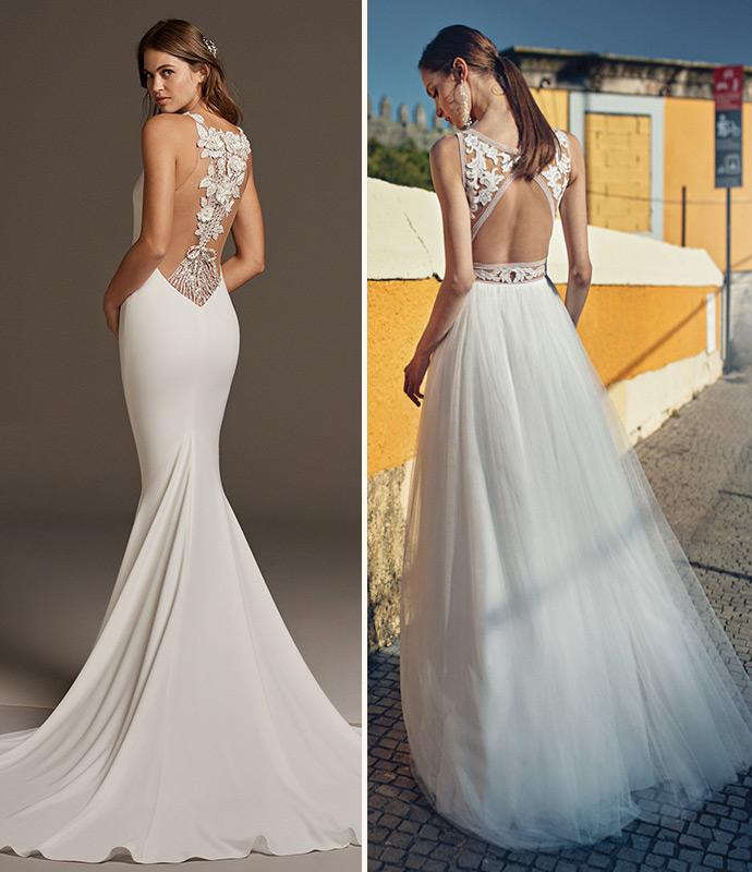 Efektownie wycięte plecy w sukni ślubnej