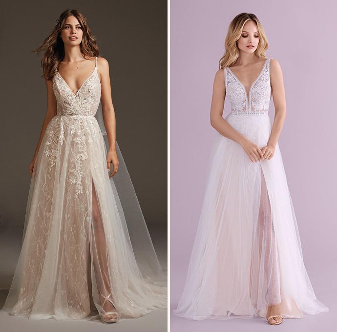 Romantyczne suknie ślubne z rozporkiem odsłaniającym nogę