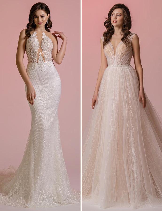Błyszczące suknie ślubne zdobione cekinami i kryształkami