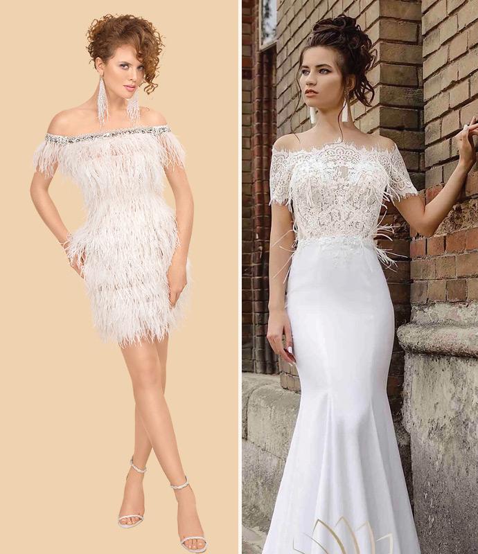 Suknie ślubne z piórami
