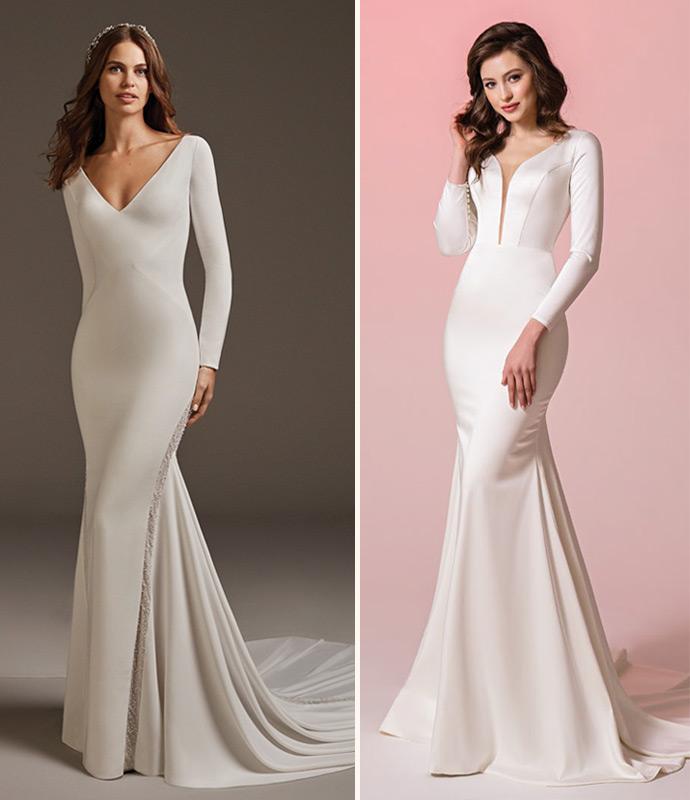Eleganckie gładkie suknie ślubne